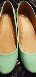 New seafoam green flat shoes